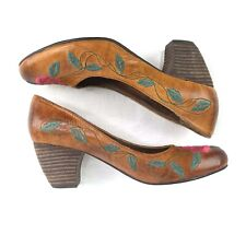 NWOB Spring Step Womens 38 US 71/2 Brown Primrose LEATHER HEELS Embroidered Rose
