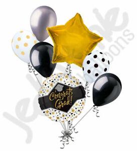 7 pc Congrats Grad Stars & Confetti Balloon Bouquet Graduation Congratulations