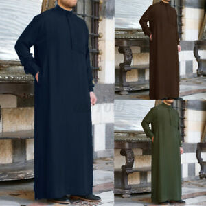 Mens Casual Kaftan Long Baggy Dress Shirts Arab Islamic Dishdasha Thobe Robes