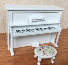 1/12 Scale Dollhouse Music Room White Furniture Instrument Wooden Piano & Stool