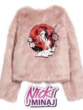 "Nicki Minaj X H&M Short Pink Faux Fur Jacket Embroidery Hip Style ""RARE"" Size 6"