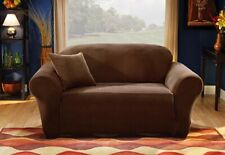 Sure Fit Stretch Pique Loveseat Slipcover Chocolate Brown Box Style Cushion