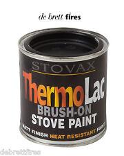 Stovax Thermolac Brush On Paint - 200ml Tin High Temp Matt Black Stoves Cast BBQ