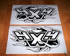 4X4 w/FLAMES #2 DECALS,Ford,Dodge,Chevy,GMC,Toyota,etc SILVER color