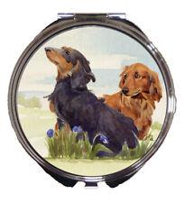 DACHSHUND LONG HAIRED DOG HANDBAG COMPACT MIRROR WATERCOLOUR PRINT SANDRA COEN