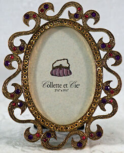 Picture / Photo Frame Brass Oval with Purple & Red Crystals Collette et Cie