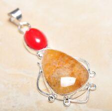 "Handmade Calcite Jasper Gemstone 925 Sterling Silver Pendant 2.5"" #P14347"