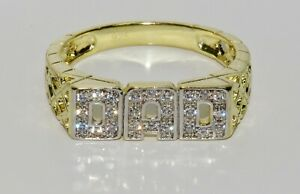 9ct Yellow Gold on Silver DAD Ring - Stone Set - All Sizes Available