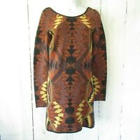 Free People S Small Brown Sweater Dress Long Sleeve Aztec Tunic