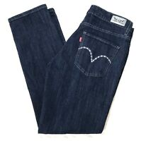 Levi's Mid Rise Skinny Womens Stretch Denim Dark Blue Jeans size 14 32 x 30