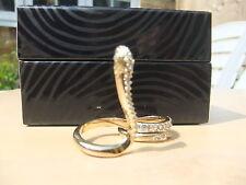 Just cavalli serpiente anillo dorado con cristales de dos dedos con certificado