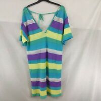 Next Ladies Top / Dress Crochet Beach wear Size L Multicoloured Striped New