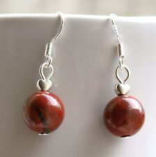 Red Jasper Gemstone Earrings with Sterling Silver Hooks New Drops LB1267