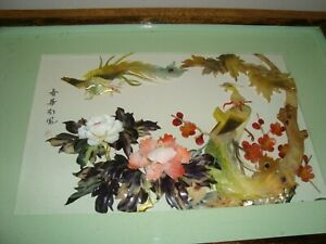 Vintage ANTIQUE Chinese Shell Mother of Pearl Picture ~ Birds & Blossom