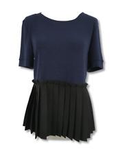 Halogen Womens Top Pleated Peplum Short Sleeve Crewneck Tee Shirt Blouse Size S