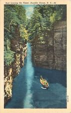 Boat Leaving the Flume Ausable Chasm New York Ny Postcard