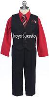 Boy's Black 4 Piece Formal Pin Stripe Suit Vest  Red Dress Shirt  Tie All Sizes