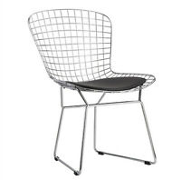 Bertoia Style Dining Side Chair Black Pad Modern Cafe Steel Wire Chrome Mesh