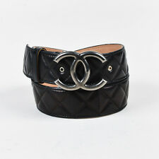 Chanel Black Quilted Leather 'CC' Buckle Belt SZ 75 30