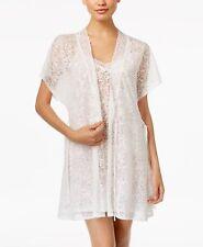 Linea Donatella Damask Burnout Robe Off White Large/XL