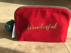 MARKS & SPENCERS M&S LARGE ZIPPED MAKE UP BAG 'WONDERFUL' RED VELOUR POMPOM BNWT