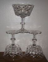 "VINTAGE (3) STEMMED CRYSTAL SHERBET DISHES, 5"" TALL - RARE"
