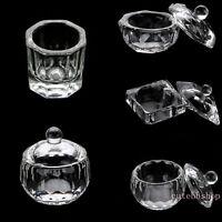 Crystal Clear Glass Containe Cup Arcylic Nail Art Bowl Liquid Powder Dappen Dish