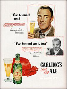 1950 Randolph Scott photo Carling's Red Cap Ale M Albertson vintage print ad L27