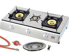 ACERO inox. Cocina de gas 3 fuegos 10kw Fogón Estufa Camping Wok cocedor