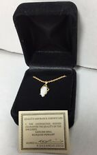 """New Gold plated Genuine opal pendant  with 18"""" necklace in a velvet gift box"""