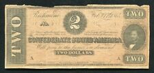 T-70 1864 $2 Two Dollars Csa Confederate States Of America Currency Note