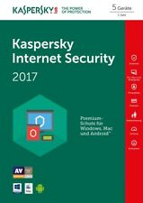 Kaspersky Internet Security 5-Geräte PC 2017 / 2018 - 1-Jahr  WIN - MAC / KEY