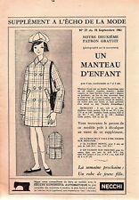 ▬► Patron Couture Écho de la Mode - 1961 N°37 - Tailles 5 6 7 ans - Manteau