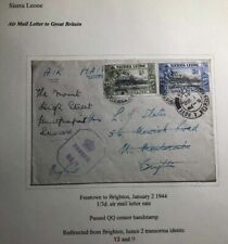 1944 Freetown Sierra Leone Airmail Censored  Cover To Brighton England
