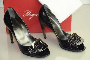 Neuf Roger Vivier Verni Gigi Encre Bleu Marine Violet Boucle Argent Chaussures