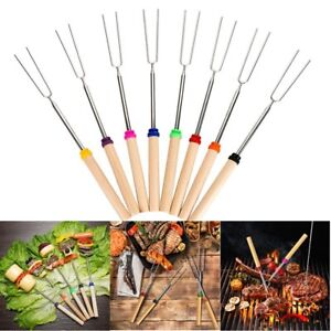 8pcs Telescopic Roasting Sticks Marshmallow Barbecue BBQ Sticks Skewers Fork New