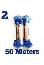 2 x 50M Clothes Line Strong Plastic weather Proof Washing Line Blue