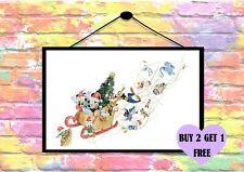 BUY 2 GET 1 FREE - Disney Christmas Magic Sleigh Mickey Print Wall Art Poster A4