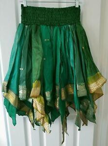 ~tav~ Silk Gypsy Fairy Pixie Peasant Asymmetrical Boho Handkerchief Skirt ~ #241