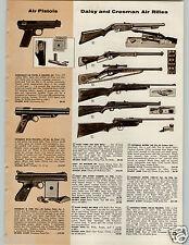 1958 PAPER AD Daisy Crosman Air Rifle BB Gun Eagle Red Ryder Pump 140K 160 co2
