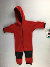 NWT Molehill MT Equipment Infant Boys  Red Fleece Bunting Bear Suit Size 3/9 mos