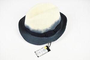 DIESEL CASEY CAPPELLO Men Size 56 Denim Look Color-Block Panama Hat 17609
