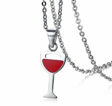 Red Wine Glasses Cup Pendant Necklace with Stainless Steel Women Girls Presents