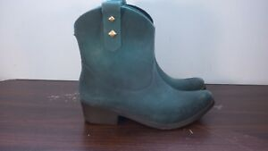 "Melissa ""Protection"" Teal Flocked PVC Jelly Cow Boy Boots Size EU 35-36 USA 5"