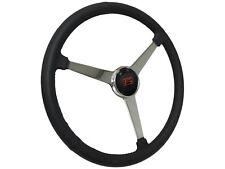 "Sprint Steering Wheel Ford Kit - 15"" Leather Solid 3 Spoke Hot Rod Design"