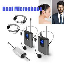 """UHF Wireless System with Dual Headset/Lavalier Microphone LCD Display 1/4""""Output"""