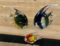 MURANO GLASS ITALIAN STUNNING 3 FISHES NEW