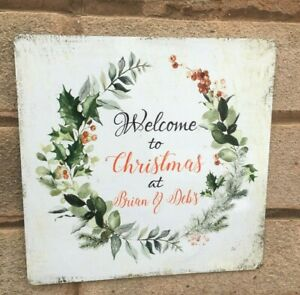 Welcome to Christmas Metal Outdoor Personalised family names Sign Hanging Plaque