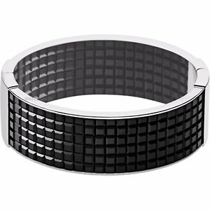 DKNY Stainless Steel Black Crystal Wide Geometric Bracelet NJ2105040