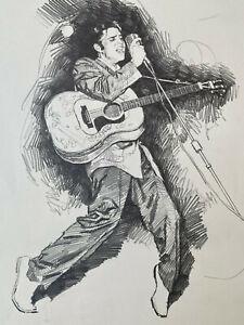 Originalzeichnung Bleistiftzeichnung Elvis Presley v. Jose Pepe Gonzalez Gitarre